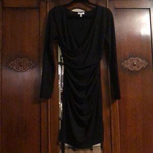 Black faux wrap long sleeve v-neck dress